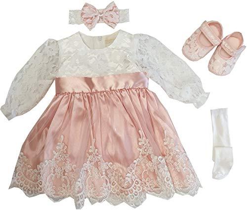 Dilaras Babybekleidung Taufkleid Baby Mädchen 4 Teiliges Set (56-62, Altrosa Weiß Langarm)