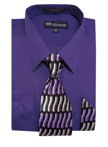 Milano Moda Men's Long Sleeve Dress Shirt with Matching Tie and Handkie SG21A-Purple-18-18 1/2-34-35