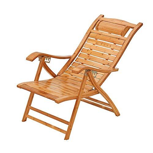 Decoración de muebles Tumbona Sillas de camping Silla reclinable de bambú ajustable en 6 posiciones Silla plegable con reposacabezas ergonómico Curvo Tumbonas portátiles para patio Balcón Alfombra