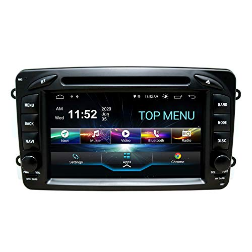 SWTNVIN Android 10.0 Autoradio Headunit passend für Mercedes-Benz CLK W209 C Class W203 A-Class Viano DVD Player Radio 7 Zoll HD Touchscreen GPS Navigation mit Bluetooth DSP TPMS 2GB+80GB