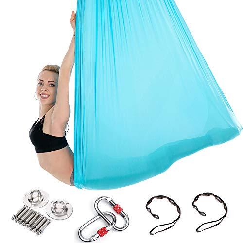 5m long, 3m wide, Yoga Flying Hammock Swing Aerial-Yoga Hammock Silk Fabric with Carabiner & Daisy Chain & Wall Mount Bracket for Yoga Anti-gravity Pilates, Full set with a pair of free socks