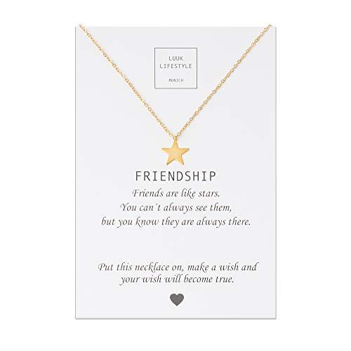 LUUK LIFESTYLE Collar de acero inoxidable con colgante de estrella y tarjeta de Friendship, amuleto de la suerte, cadena de la amistad, regalo de cumpleaños, oro