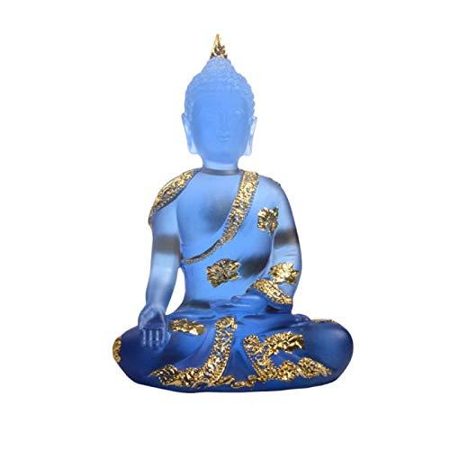 HappyL Hecho A Mano De Resina Artesanal Regalo Transparente Yoga Estatua De Buda Suerte Feng Shui Decoración Zen Budismo Inicio Adornos Mobiliario (Color