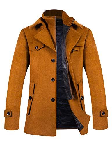 ELETOP Abrigo de invierno para hombre, abrigo corto de lana, abrigos de...