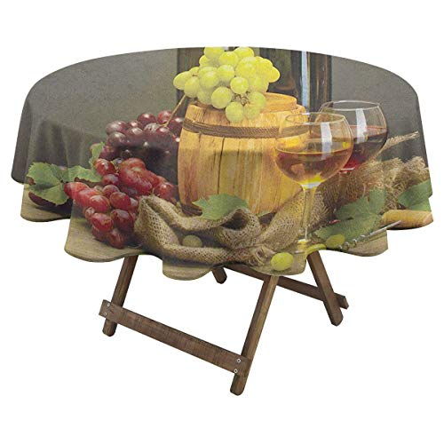 Zara Henry Winery Hotel Round Tablecloth Barrel Bottles and Glasses of Wine and Ripe Grapes on Wooden Table Picture Print Home Outdoor Round Tablecloth D 60' Multicolor