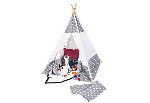 Pinolino Zelt Tipi Jakara, aus Stoff und Holz, mit Fenster, Bodenmatte und Aufbewahrungsbeutel, für Kinder ab 3 J., Stoff mit Sternchen Muster