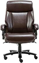 STARSPACE High Back Big & Tall 400lb Bonded Leather Office Chair Large Executive Desk Computer Swivel Chair - Heavy Duty Metal Base, Adjustable Tilt Tension, Ergonomic Design for Lumbar Support, Brown