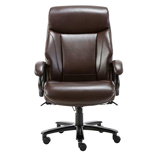 STARSPACE High Back Big & Tall 400lb Bonded Leather Office Chair Large Executive Desk Computer Swivel Chair - Heavy Duty Metal Base, Adjustable Tilt Angle, Ergonomic Design for Lumbar Support, Brown