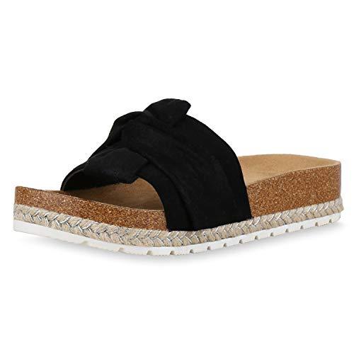 SCARPE VITA Damen Sandaletten Pantoletten Wildleder-Optik Sommer Schuhe Plateau Sandalen Bast Schlappen Korkoptik 180980 Schwarz Hellbraun 37