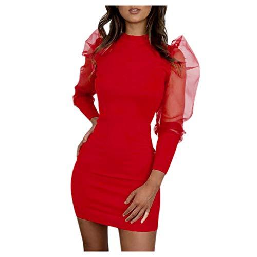 Floweworld Damen Minikleider Fashion Solid Color Rundhals Casual Kleider Perspektive Mesh Patchwork Laterne Ärmel Slim-Fit Party Kleider