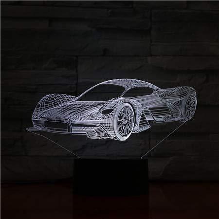 Soporte de cable USB de acrílico para coche deportivo Niños Hobby 3D LED Luz de noche Lámpara de mesa Mesita de noche Decoración Regalo para niños