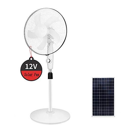 Grand ventilateur solaire 12V sur pied, oscillant 3 vitesses + panneau solaire