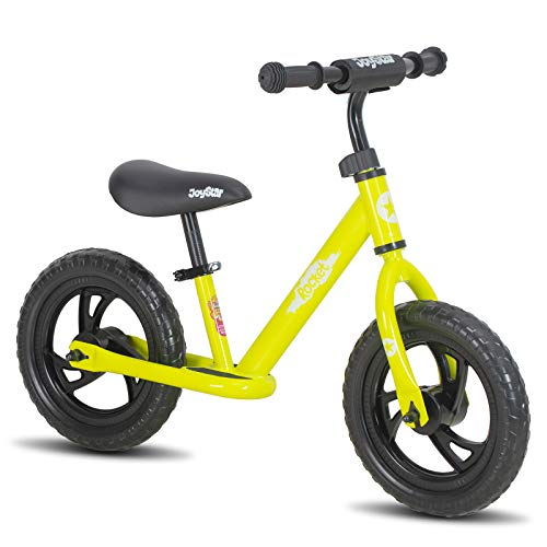 JOYSTAR 12 Inch Balance Bike for Boys 2 3 4 5 Years Old Toddler Push Bike with Footboard and Handlebar Protect Pad 12  Child Glider Cycle Kids Slider Lime