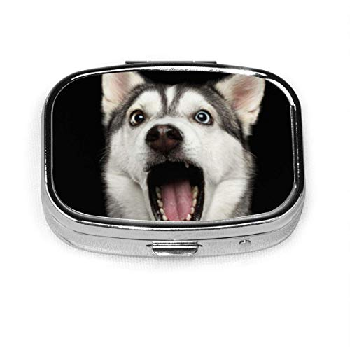 GRTING Siberian Husky Dog Pill Case 2 Compartment Medicine Case Portable Travel Square Pill Box Organizer for Pocket Purse Daily Needs