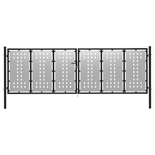 vidaXL Poort 400x75 cm staal zilverkleurig