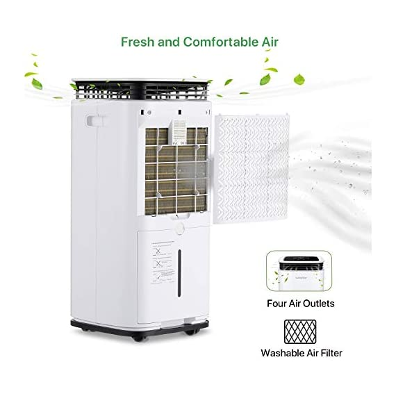 Waykar 4500 sq. Ft dehumidifier for home basements bedroom garage, removes 9 gallons moisture/day, with continuous drain… 6 dehumidifier for spaces up to 4500 sq ft- our dehumidifier are able to remove up to 70 pints (under 95°f,85%rh condition) of moisture per day. (please note: under 95°f,85%rh condition, the max dehumidification capacity up to 70 pints)in areas up to 4,500 sq. Ft and adjust humidity from 30% to 85%. It is a dehumidifier ideal for any basements, office, home, bathroom, bedroom, kitchen, stockroom, living room, laundry room, cellars, crawlspace, large spaces/room, etc.. Unique design for the modern home- the waykar dehumidifiers designed with the sleek and modern look. With built-in wheels and ergonomically placed handles, you can move this dehumidifier easily. A quiet fan that won't disturb you when you sleep or at work, adjustable fan speeds for multiple choices. There are 4 air outlets in the four sides of dehumidifier instead of that in one side, with this design will improve the speed of dehumidify. Intelligent touch control- there is an intelligent screen touch control panel display on the dehumidifier, you can operate it easily. Humidity auto control: simply adjust to your ideal moisture setting, it will smartly sense room humidity and control dehumidification to maintain pre-set humidity levels. 24-hour timer: for preset operation and reduced energy consumption. Automatic shut off/on: shuts off automatically when the bucket is full, and switch it on again after the bucket been emptied.
