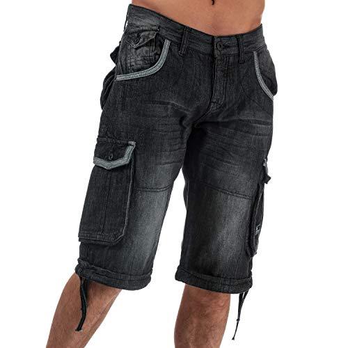 Mens Crosshatch Black Label Newburg Cargo Denim Shorts in Black
