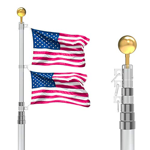 25FT Telescopic Flag Pole Kit Tangle Free Flagpole Kit Fly 2 Flags Extra Thick Heavy Duty 16 Gauge Aluminum Telescopic Flagpole Kit with 3'x5' US American Polyester Flag…