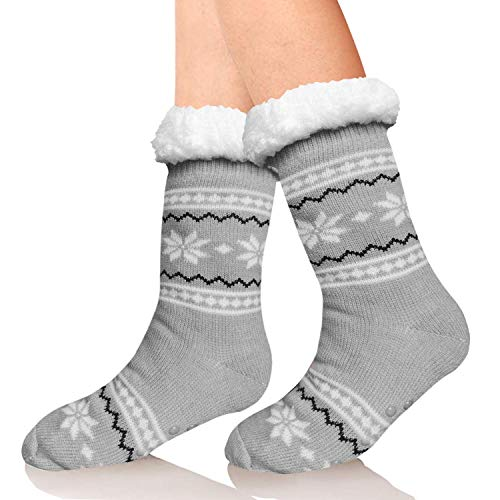 Sooverki - Calcetines mullidos altos navideños con forro polar suave y esponjoso para...