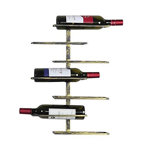 Feixunfan Botellero de metal montado en la pared, soporte para botellas de vino, hogar, cocina, bar, decoración de botella, estante para bodega, sótano (color: bronce, tamaño: 7 botellas)