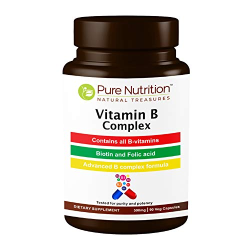 Pure Nutrition Vitamin B Complex (B1, B2, B3, B5, B6, B12, Biotin, Folic Acid, Choline, Inositol) 500mg | 90 Caps