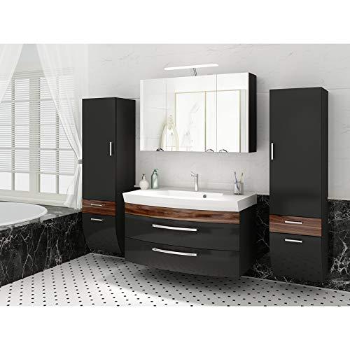 badmöbelset Juego de Muebles de baño para baño Antracita/Nogal, 5 Piezas.