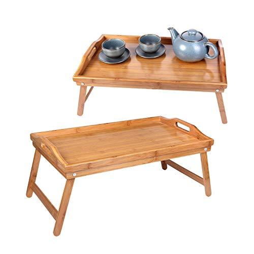 Schramm® 2 Stück Frühstückstablett Bambus Tablett Bambustablett klappbar Serviertablett für Frühstück im Bett Betttablett mit Füßen zum Aufstellen 2er Set