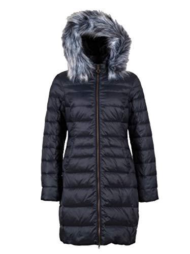 Northland Marina dames donsjas gewatteerde jas winterjas navy blauw met nep bont capuchon getailleerd gevoerd lang (Art No.- 02-09793-Marina)