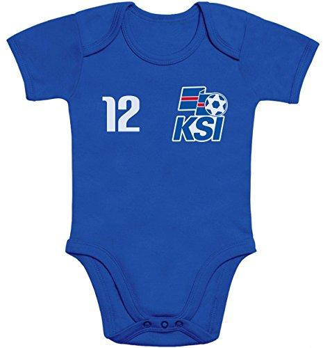 Shirtgeil Baby Fan-Trikot für Island Fußball EM 2021 Baby Body Kurzarm-Body 3-6 Monate Blau