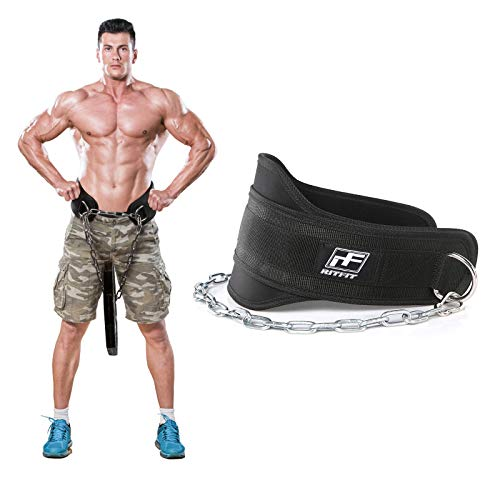 RitFit Premium Dip Belt with Chain, 38'' Reinforced Steel Chain, Waterproof Foam Core, Double Stitching, Black, Maximize Your Weightlifting & Bodybuilding Workouts