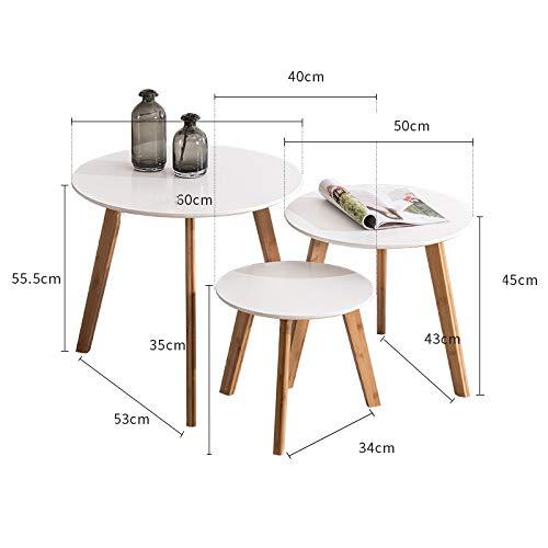 Saladplates-LXM Set van 3 ronde salontafels bijzettafels voor woonkamer nachtkastjes kleine ruimte tafels Home Office wit