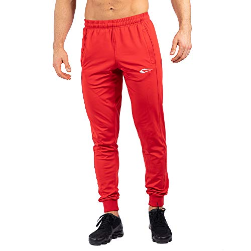 SMILODOX Herren Jogginghose Vital | Trainingshose für Sport Fitness Gym Training | Sporthose - Jogger Pants - Sweatpants Hosen - Freizeithose Lang, Farbe:Rot, Größe:M