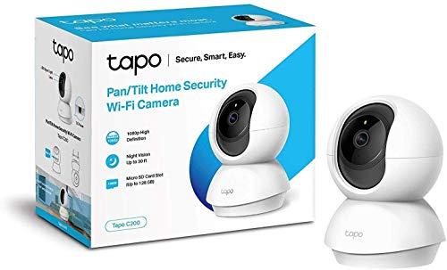 TP-Link Tapo C200 WLAN IP Kamera Überwachungskamera (Linsenschwenkung- und Neigung, 1080p-Auflösung, 2-Wege-Audio) Weiß + smarte WLAN Steckdose (Fernzugriff, Zeitpläne) weiß
