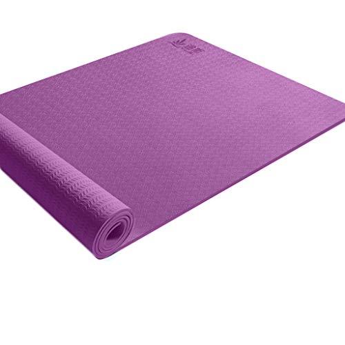 SAP- Yoga Mat Vrouw Verbrede Verdikte Beginner Sport Yoga Deken Verlengde Non-slip Fitness huis Mat Fitness Mat zacht (Color : Purple, Size : 183cm*68cm*6mm)