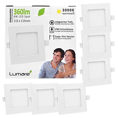 6x Lumare LED Einbauspot 6W IP44 extra flach 230V auch für Bad und Feuchtraum weiß nur 26mm Einbautiefe! Slim Deckenspot quadratisch mit integriertem 360lm LED Leuchtmittel