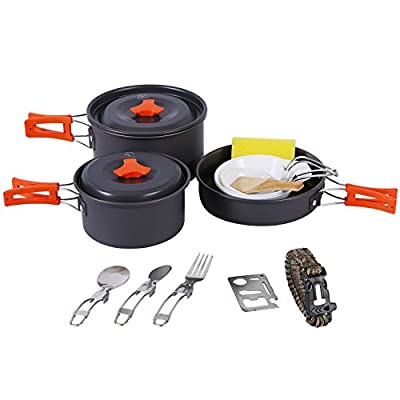 REDCAMP 18 PCS Camping Cookware Mess Kit, Backpacking Cooking Set for 2-3 Persons, Anodized Aluminum, Compact Lightweight Camping Pots and Pans Set