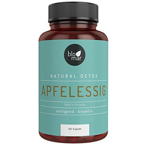 Apfelessig Kapseln - Vergleichsurteil Sehr gut - hochdosierte 3-Monatskur natürliches Detox - Made in Germany - 180 Kapseln