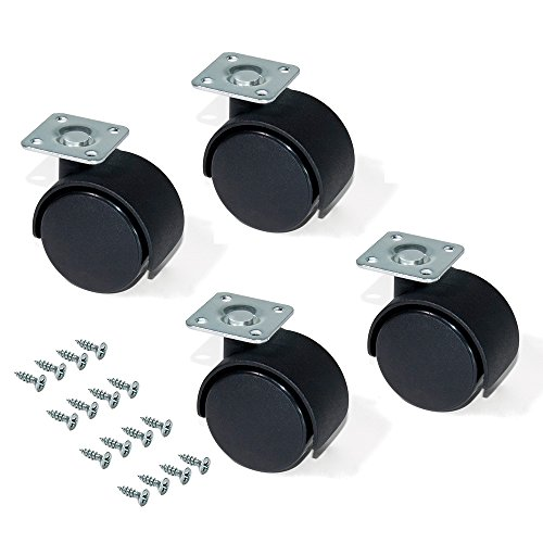 Emuca 2036717 - Lote de 4 ruedas pivotantes negras para mueble , sin frenos, diámetro 30 mm con placa de montaje y rodamiento de bolas