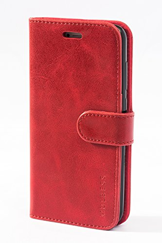 Mulbess Handyhülle für Huawei P8 Lite 2017 Hülle Leder, Huawei P8 Lite 2017 Handy Hülle, Vintage Flip Handytasche Schutzhülle für Huawei P8 Lite 2017 Hülle, Wein Rot
