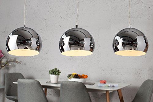 Design Hängelampe Pendellampe Kugellampe chrom 3er Set Design Retro Lampe verstellbar