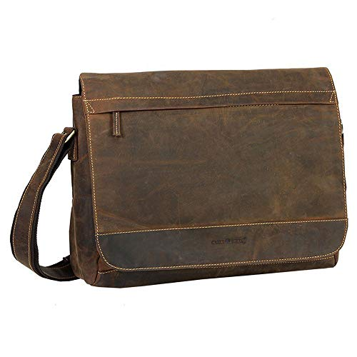 Green Burry A4 Tasche, Überschlagtasche, Schultertasche Vintage braun 1766 25, Umhängetasche, A4, Damentasche, Herrentasche, Unisex, Ledertasche,Unitasche, Buissness, Messenger, Kuriertasche, Lapptop,