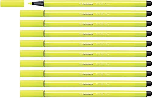 Pennarello Premium - STABILO Pen 68 - Confezione da 10 - Giallo Fluorescente