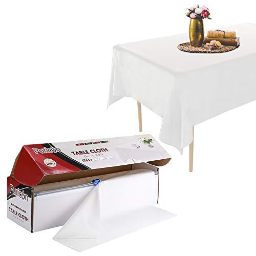 Puricon1.37x33 Meterware Einweg Tischdecke Rolle mit Clip aus Plastik,Frei schneidbar Wasserdicht Wachstuch Rolle (12Stück) Abwaschbar Tischtuch für Garten Buffet Party Hochzeit, Camping -Weiß
