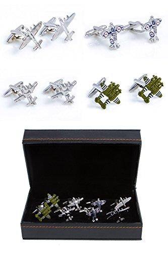 MRCUFF Airplanes Planes Jet Pilot Bombers 4 Pairs Cufflinks in a Presentation Gift Box & Polishing Cloth