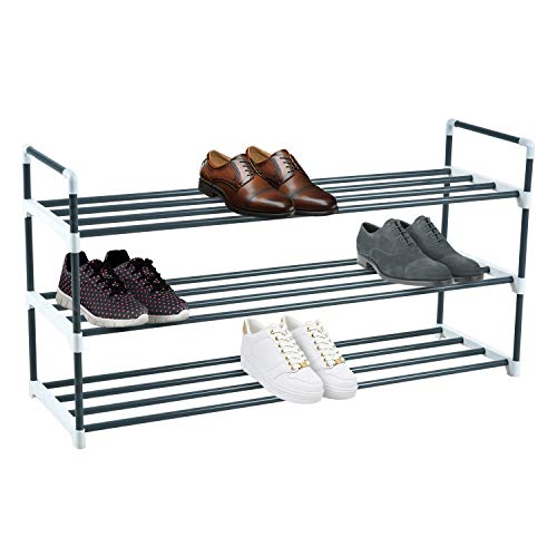 Knight 3 Tier Shoe Rack Grey Heavy Duty Metal Quick Assembly No Tools Required