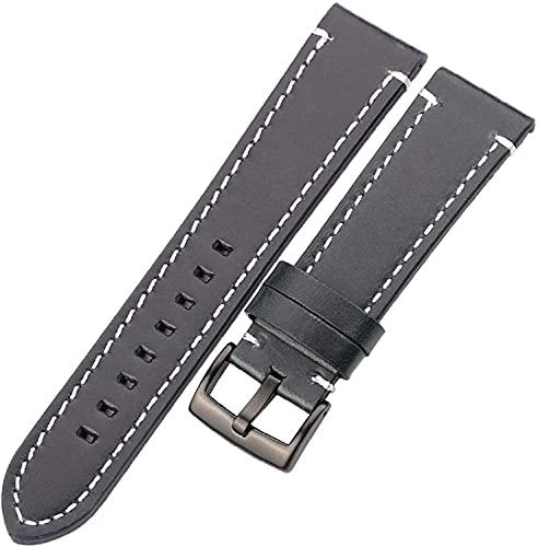 PINGZG Banda de Reloj de Cuero 18mm / 20mm / 22mm / 24mm Mujeres Relojes de Relojes Accesorios de Reloj, cómodo Transpirable (Color : Blue Black Clasp, Size : 18mm)