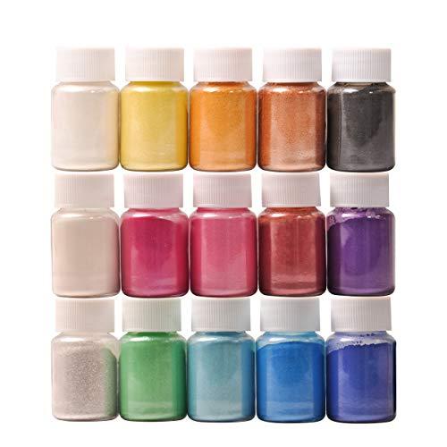 Pigmenti Resina DEWEL Mica Powder 10g*15 Colori Pigmenti in Polvere per Slime, Resina Epossidica, Candele, Acquerello, Cosmetici