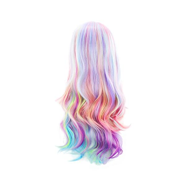AGPtEK Full Long Curly Wavy Rainbow Hair Wig, Heat Resistant Wig for Music Festival, Theme Parties, Wedding, Concerts… 6
