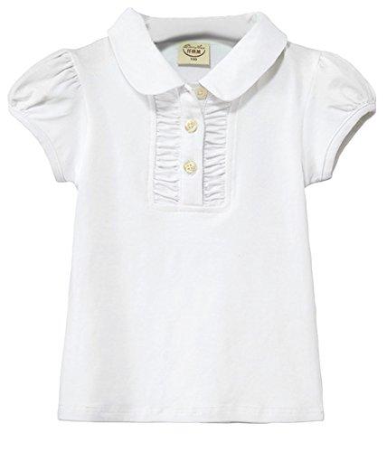 EOZY-Polo T-Shirt Bimba Bambina Cotone Maglietta a Manica Corta Cotone Misti Bianco Petto 62cm