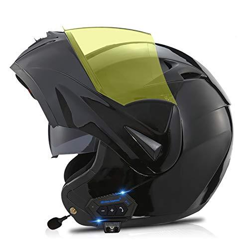 Bluetooth Integrado Casco de Moto Modular con Doble Visera Cascos de Motocicleta ECE Homologado a Prueba de Viento para Adultos Hombres Mujeres P,S